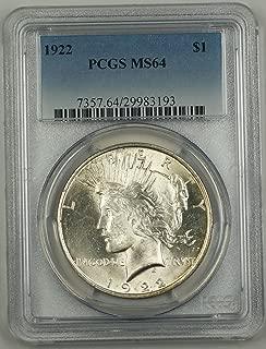 1922 No Mint Mark Peace Dollar PCGS MS-64