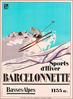 Barcelonnette Basses-Alpes France French Winter Sports d' Hiver Ski Europe European Vintage Travel Home Collectible Wall Decor Advertisement Art Poster Print. Measures 10 x 13.5 inches.