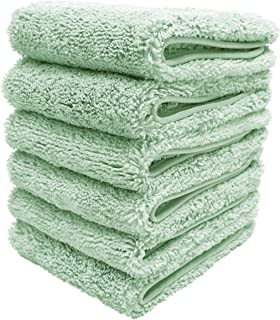 Polyte Premium Lint Free Microfiber Washcloth Face Towel, 13 x 13 in, Set of 6 (Light Green)
