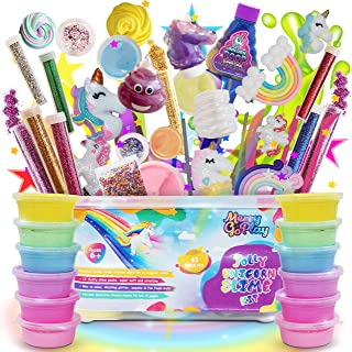 Slime Kit for Girls, Unicorn Slime Kit for Girls, 12 Fluffy Slime Rainbow Colors, 3 Galaxy Slime, Poop Emoji, 2 Snow, DIY Add-ins, Charms, Glitter, Sequins, Foam Balls, 45 Pieces, Age 6-12, Kids Gifts