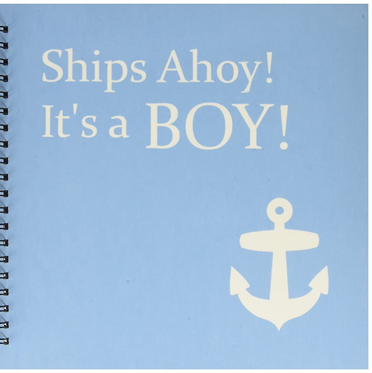 3dRose db_151388_2 Ships Ahoy Its a Boy for Baby Showers Light Powder Blue with White Anchor Sailor Nautical Theme Memory Book, 12 by 12-Inch