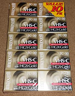 Maxell VHS-C Camcorder Videotapes HGX-Gold TC-30 (10 Pack)
