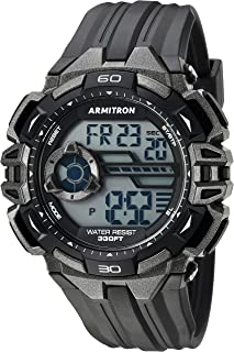 ساعة ارمترون رياضية للرجال 40/8411GBK لون رمادي داكن بسوار اسود من الراتنج