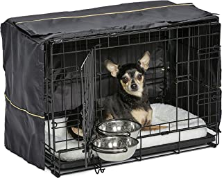 MidWest iCrate Starter Kit | The Perfect Kit for Your New Dog Includes a Dog Crate, Dog Crate Cover, 2 Dog Bowls & Pet Bed | 1-Year Warranty on ALL Items