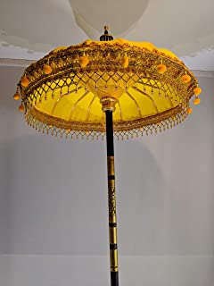 Bali Umbrella, Yellow/Orange Balinese Garden Umbrella 3' Opening for Weddings and Events Made in Indonesia