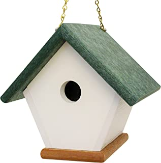 HomePro Garden Hanging Wren Bird House Handmade from Eco Friendly Recycled Plastic Materials (Green/Cedarwood)