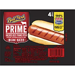 Ball Park Prime Beef Hot Dogs, Bun Size Length, 4 Count
