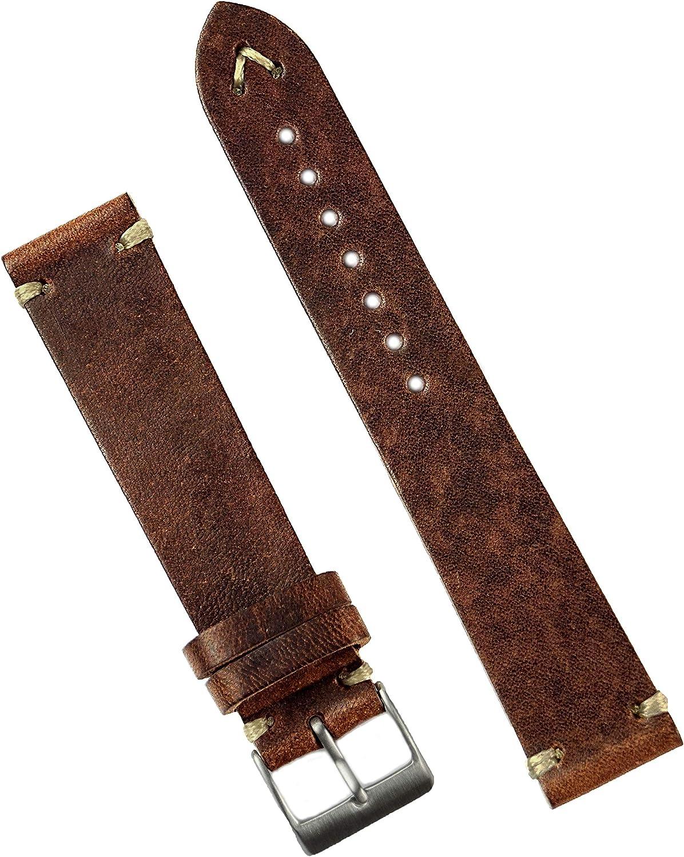 B R Bands Dedication 22mm Chestnut Los Angeles Mall Leather Italian Watch Classic Vintage