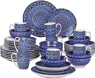 vancasso, Série Mandala, Service de Table Complet en Porcelaine 40 pièces pour 8 Personnes, Assiette Plate, Assiette à Des...