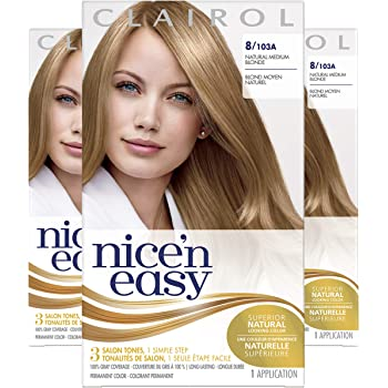 Amazon Com Clairol Nice N Easy Original Permanent Hair Color 8 Medium Blonde 3 Count Chemical Hair Dyes Beauty