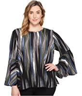Vince Camuto Specialty Size Plus Size Bell Sleeve Colorful Peaks Blouse