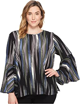Vince Camuto Specialty Size - Plus Size Bell Sleeve Colorful Peaks Blouse