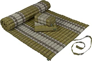 Kapok Dreams Yoga & Massage Set: Kapok Mat 39x79+ Block Cushion + seat Cushion. 100% Kapok Filling (Natural & Sustainable Plant Fibre). Rollable Mat + Pillows, Bamboogreen