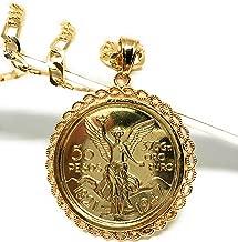 """Fran & Co. Gold Plated Mexican Coin Centenario Mexicano Moneda 50 Pesos Pendant Chain 26"""""""