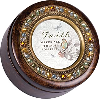 Cottage Garden Faith Makes Things Possible Amber Earth Tone Jeweled Round Music Box Plays How Great Thou Art