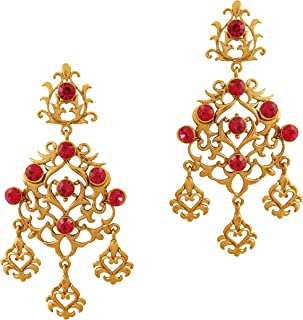 Indian bollywood filigree work long chandelier jewelry earrings in antique gold tone