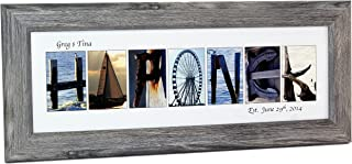 Creative Letter Art - Personalized Framed Name Sign with Beach and Nautical Related Alphabet Photographs including Driftwood Self Standing Frame