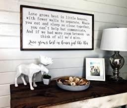 Dozili Love Grows Best in Little Houses Sign Large Framed Wood Sign Family Room Decor Wooden Wall Decor Inspirational Sign