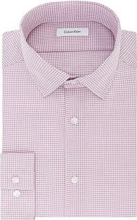 Calvin Klein Mens Dress Shirts Non Iron Slim Fit Gingham...