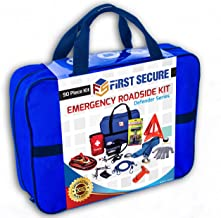 First Secure 90-Piece Car Emergency Kit with Roadside Assistance Jumper Cables Portable Air Compressor Tow Strap