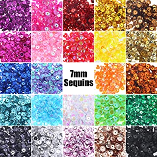 JOYAHO 7mm Sequins for Crafts, 24 Colors 8400 Pcs Bulk Loose Sequins Cup Sequins for Sewing, Rainbow Round Craft Sequins I...