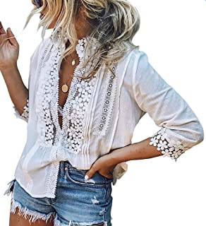 PAPOSON Women Summer Crochet Lace Shirt Flower Embroidery 3/4 Sleeve High Neck Casual Blouse Top