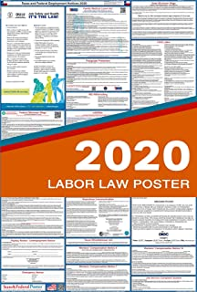 2020 Texas Labor Law Posters (Laminated) All-in-One State and Federal Approved, OSHA Compliant Vertical 27