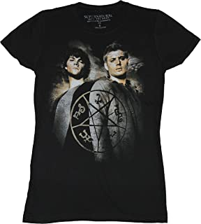 Supernatural Girls Juniors T-Shirt - Sam & Dean Winchester Distressed Symbols