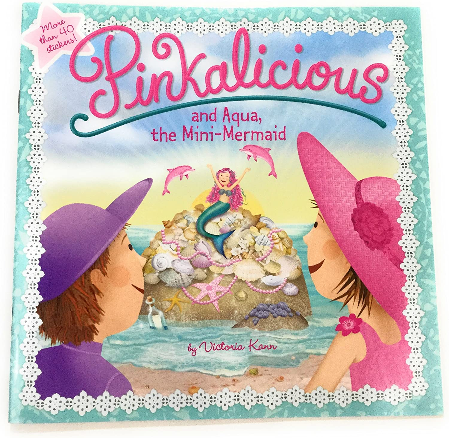 The Mini-Mermaid Book w//Stickers /& Gift Tag for Girls who Love Mermaid Adventures Ganz Girls Mermaid Doll Marlowe with Pinkalicious and Aqua