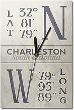 Lantern Press Charleston, South Carolina - Latitude and Longitude (Blue) (10x15 Wood Wall Clock, Decor Ready to Hang)