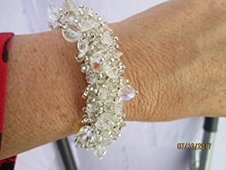Hand beaded bead work white clear stones AB with glass crystal and aurora borealis accents fair trade bead work statement bracelet magnetic clasp magnet wedding