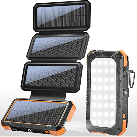 BLAVOR Solar Charger with Foldable Panels, Outdoor Power Bank 18W Fast Charging, 20,000mAh Solar Powered Charger with Camping Light/Flashlight/Compass Type C USB Charger 3 Outputs/Dual Inputs (Orange)