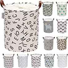 Sea Team Letter Pattern Laundry Hamper Canvas Fabric Laundry Basket Collapsible Storage Bin with PU Leather Handles and Dr...