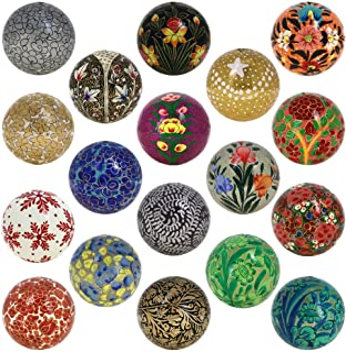 Shalinindia Set of 18 Paper Mache Ball Christmas Decorative Ornaments Handmade Decoration Gifts Set