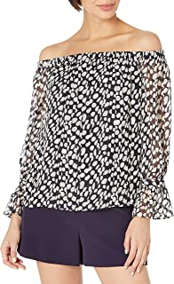 MILLY womens Abstract Dot Burnout Off the Shoulder Top Dress Shirt