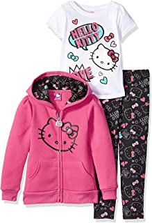 Girls' 3 Piece Hooded Legging Set- Clothes for Little Girls, Hello Kitty Hoodie, Hello Kitty Shirt