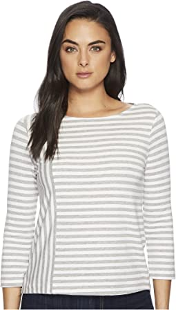Three Dots - Cape Cod Stripe 3/4 Sleeve Top w/ Zipper Detail