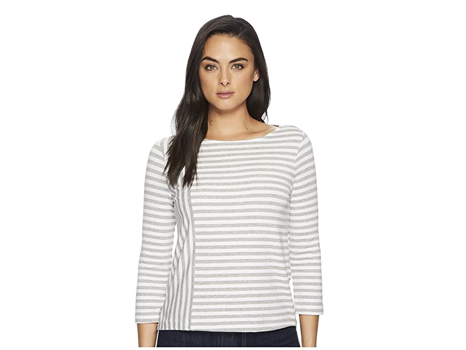 Three Dots Cape Cod Stripe 3/4 Sleeve Top w/ Zipper Detail (Granite/White) Women