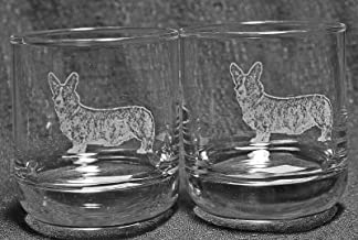 Muddy Creek Reflection Welsh Cardigan Corgi Dog Laser Etched Double Old Fashioned Whiskey Glass Set (2, DOF)