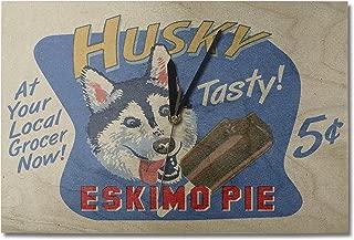 Lantern Press Husky Eskimo Pie - Retro Ad (10x15 Wood Wall Clock, Decor Ready to Hang)