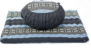 Leewadee Meditatie Set met Hoezen - 1 Rond Zafu Yoga Kussen en 1 Vierkante Zabuton Mat met 2 Extra Hoezen, Gevuld met Kapok