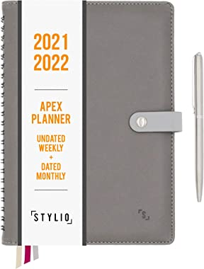 STYLIO Apex Planner 2021 2022 Undated Weekly, Dated Monthly Calendar. Daily Personal Agenda Organizer for Business/Academic/S