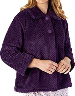 "Slenderella Ladies 24""/61cm Luxury 380GSM Soft Thick Waffle Fleece Collared Button Up Bed Jacket Size Small Medium Large XL XXL & XXXL"