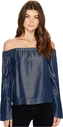 7 For All Mankind - Bell Sleeve Off Shoulder Denim Top in Rinsed Night
