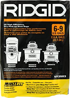 Ridgid VF3503 High Efficiency, Dry Pickup Dust Bags for 6 - 9 Gallons Ridgid Wet / Dry Vacuums at (2 Pack)