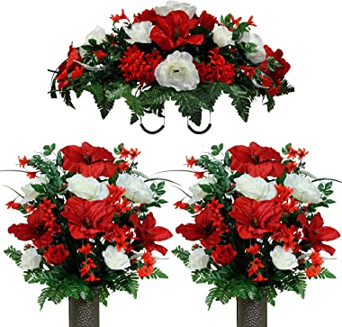 Sympathy Silks Artificial Cemetery Flowers – Realistic Vibrant Roses, Outdoor Grave Decorations - Non-Bleed Colors, and Easy Fit - 2 Red Amaryllis & White Rose Bouquets with Saddle