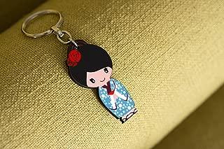 Kokeshi / Kawaii Japanese Doll Illustrated Key Chain Bag Charm, Printed on Wood