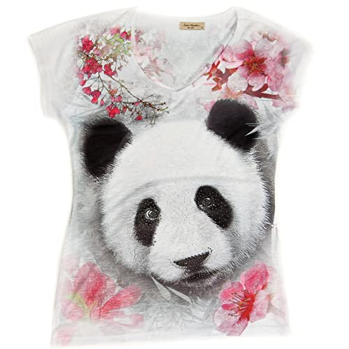 Cherry Blossom Panda V-Neck Tee Shirt  5b6e552e0