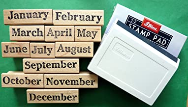 Months of the Year Teacher's Rubber Stamp set of 12, with Stamp Pad