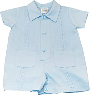 Karela Light Blue Pique Embroidered Baby Boy Romper with Matching Belt 12 mo